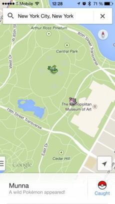 Google hat auf der ganzen Welt 150 Pokemon verstreut, zum Beispiel im Central Park in New York City. (Screenshot: Google Maps)