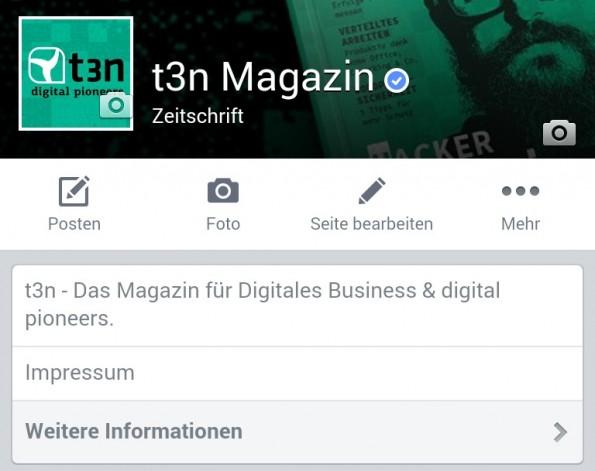 Den Hinweis auf das Impressum einer Facebook-Seite gibt es jetzt auch in der mobilen Ansicht. (Screenshot: Facebook)
