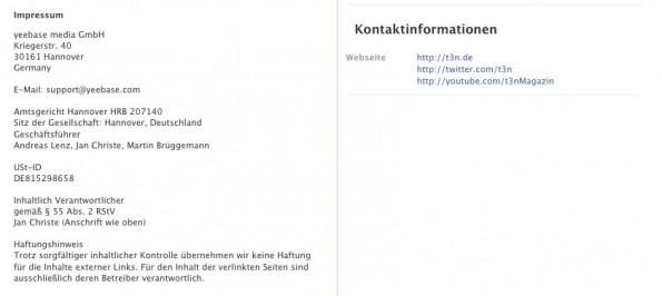 Das Impressum von der t3n-Facebook-Seite im Info-Tab. (Screenshot: Facebook)