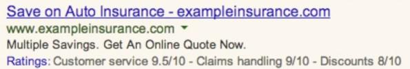 Google AdWords: Anzeigen können bald auch Kundenbewertungen enthalten. (Screenshot: Google)