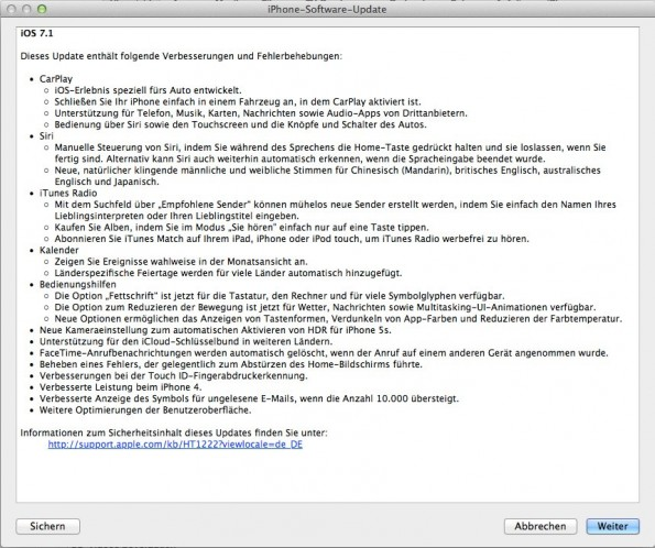 iOS 7.1: Der Changelog des neuen Apple-Updates ist lang. (Screenshot: iTunes)