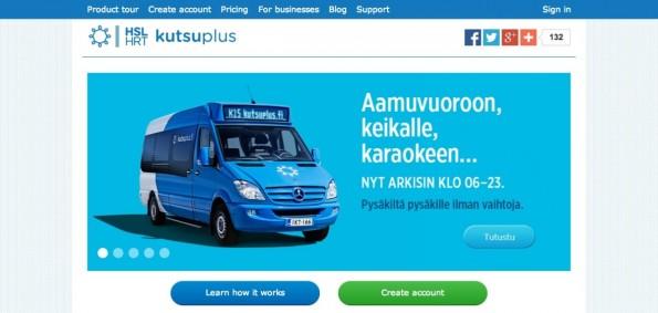 Das Kutsuplus-System will den Nahverkehr flexibler machen. (Screenshot: kutsuplus.fi)