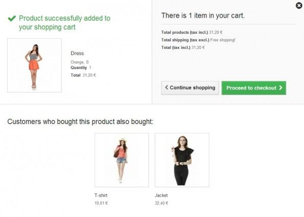 Landet ein produkt im Warenkrob, zeigt Prestashop jetzt ähnliche Produkte auf der Warenkorbseite an. (Screenshot: Prestashop)