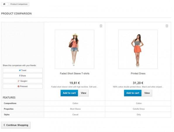 Kunden können in der neuen Prestashop-Version Produktvergleiche durchführen. (Screenshot: Prestashop)
