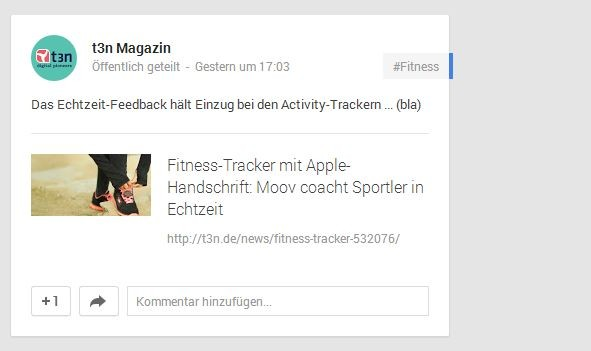 Google+ wird im Social Media-Reigen oft übersehen. Hier zählen prägnante Überschriften. (Screenshot: Google)