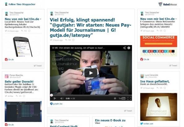 Der Social-Media-Stream von Rebel Mouse verknüpft Accounts und Hashtags. (Screenshot: RebelMouse)