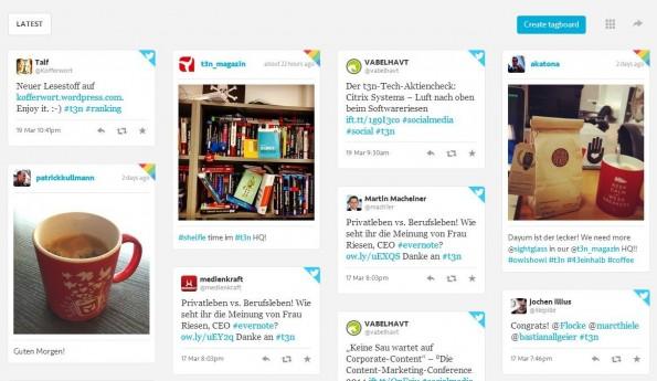 Was wird denn gerade zu #t3n so getwittert? (Screenshot: Tagboard)