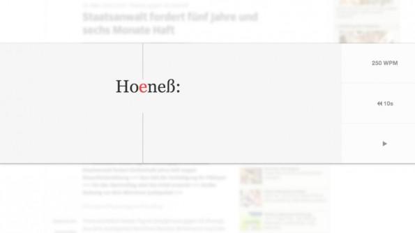 Speed-Reading: Mit Squirt können Nutzer Texte im Browser mit bis zu 950 Wörtern pro Minute lesen. (Screenshot: Süddeutsche)