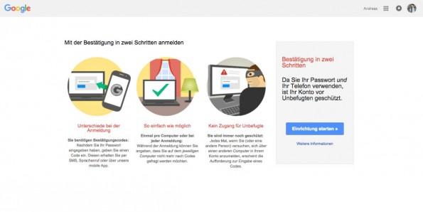 Zwei-Faktor-Authentifizierung einrichten: Google.