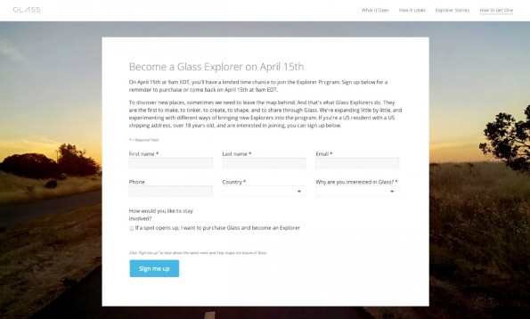 "Google wagt den Soft-Launch: Datenbrille ""Glass"" am 15. April in den USA erhältlich. (Screenshot: Google.com)"