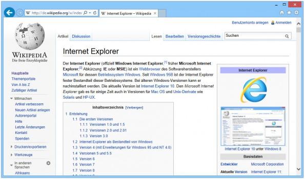 Internet Explorer: Alle Versionen des Microsoft-Browsers seit IE6 sind von der Sicherheitslücke betroffen. (Screenshot: Wikimedia Commons)