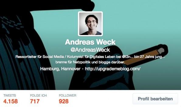 Kurzbiografie auf Twitter: Erkläre deinen Follower, was sie auf deinem Account dir erwartet. (Screenshot: @AndreasWeck-Twitter)