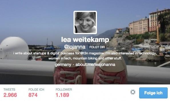 Kurzbiografie auf Twitter: Sage wer du bist und was du kuratierst. (Screenshot: @lojanna-Twitter)