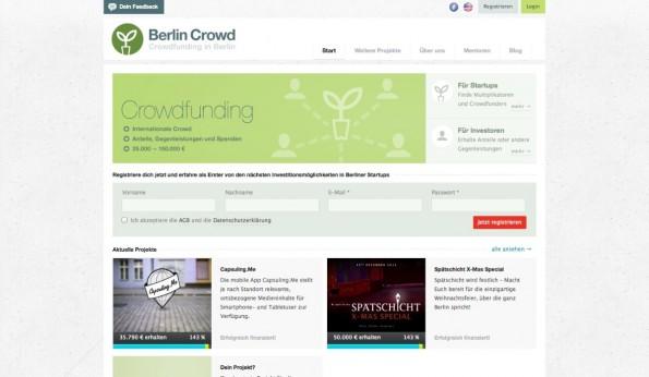 Das Berliner Startup-Biotop ist inzwischen reif für eine Crowdfinancing-Plattform in eigener Sache. Das glauben zumindest die Macher von Berlin Crowd. (Screenshot: t3n)