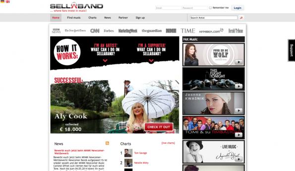 Frisches Schwarmkapital für das neue Musikprojekt gibt es auf Sellaband. (Screenshot: t3n)