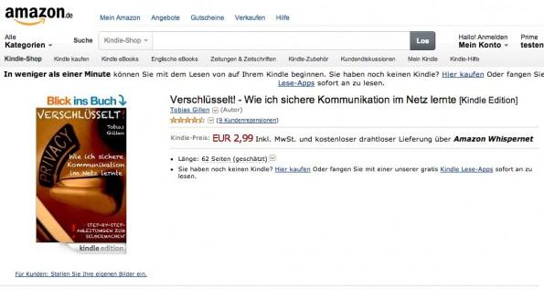 """""""Verschlüsselt!"""" auf Amazon: Kryptografie-Handbuch für Einsteiger erklärt unter anderem PGP und S/MIME. (Screenshot: Amazon)"""