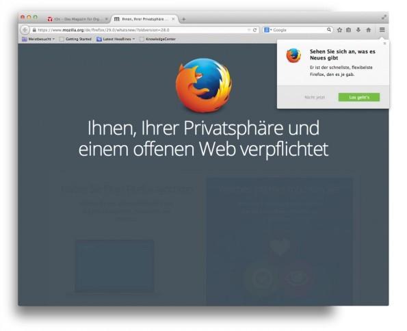 Der neue Firefox 29. (Screenshot: t3n)