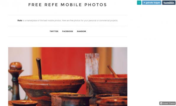 Hochwertige und kostenfreie Bilder – Free Refe Mobile Photos. (Screenshot: getrefe.tumblr.com)