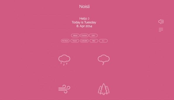 Wer auf atmosphärische Soundkulissen aus der Natur steht, kann mit Noisli auf eine ganz eigene Art produktiv am Arbeitsplatz arbeiten. (Screenshot: Noisli)