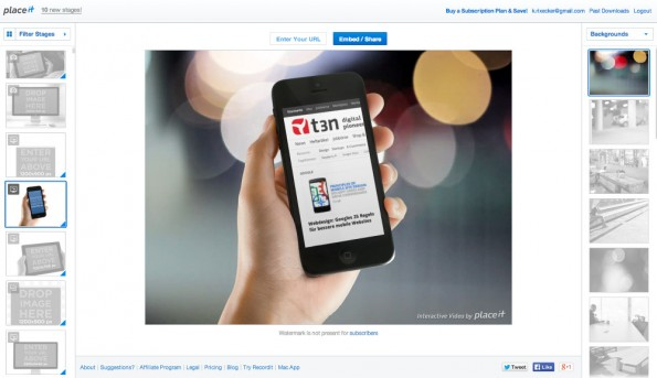 PlaceIt erlaubt jetzt auch die Erstellung interaktiver Videos. (Screenshot: PlaceIt)