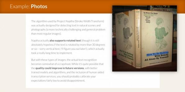 Project Naptha: Das Plugin erkennt auch Texte wie auf dem Foto eines Buchcovers. (Screenshot: Project Naptha)