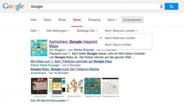 Tipps für die Google Suche: Innerhalb der Filter lassen sich die Suchanfragen noch stärker konkretisieren. (Screenshot: Google)