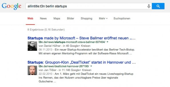 """Tipps für die Google-Suche: """"allintitle"""": zeigt die Webseiten an, in deren Titel sich die gesuchten Keywords befinden. (Screenshot: Googe Suche)"""