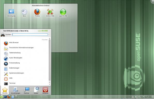 Der Desktop von openSUSE. (Bild: obenSUSE)