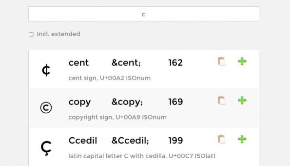 """So sieht die Suche nach HTML-Entities am Beispiel von """"c"""" aus. (Screenshot: HTML Entity Lookup)"""