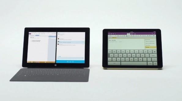 Ein Split-Screen-Modus zum Multitasking wäre eine willkommene Funktion in iOS 8. Microsoft weist diesbezüglich gerne auf die Unterschiede zwischen iPad und Surface-Tablet hin. (Bild: Microsoft Canada, Youtube)