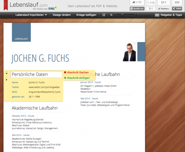 (Screenshot: Lebenslauf.com)