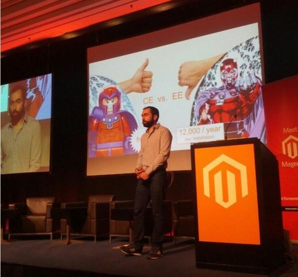 Meet Magento: Tim Bezhashvyly versuchte mit seinem polarisierenden Vortrag Magento zu Änderungen zu bewegen. (Foto: Twitter/@fschmengler)
