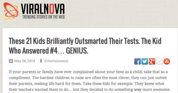 """Viralnova sorgt mit der """"Click-Baiting""""-Methodik für reichlich Social-Traffic. (Screenshot: Viralnova)"""