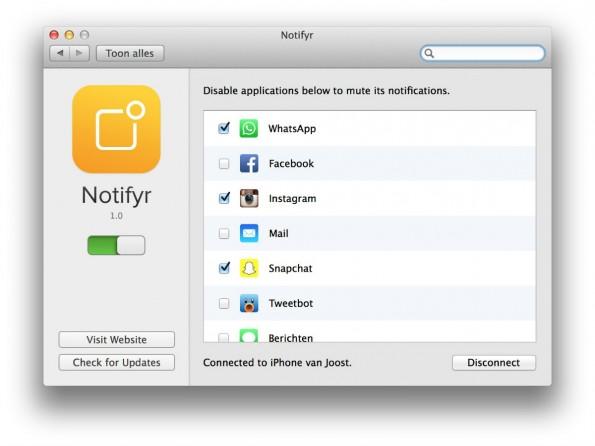Um WhatsApp-Nachrichten auf dem Mac empfangen zu können, muss die App geladen werden. Die gibt's kostenlos für OS X und für 3,99 Euro für iOS. (Screenshot: Notifyr)