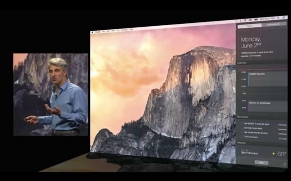 Craig Federighi bei der Vorstellung von Mac OS X 10.10 Yosemite 2014. (Screenshot: Apple)