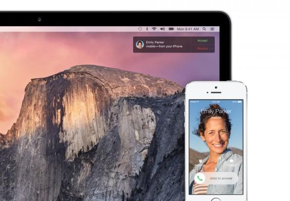 OS X 10.10 kann jetzt auch Anrufe einleiten und annehmen – wenn ein iPhone in Reichweite ist. (Quelle: apple.com)