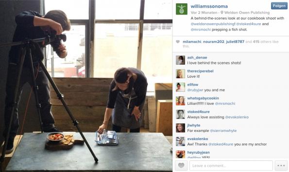 """""""Backstage"""" mit einem Foto vom Shooting für das neue Kochbuch. Diese Art von Post beleuchtet die menschliche Seite Deines Shops und verbindet den User mehr mit Dir oder Deinem Unternehmen. (Screenshot: http://instagram.com/williamssonoma)"""