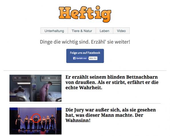 Heftig.co sorgte in den vergangenen Wochen und Monate für viel Diskussionsstoff in der Medienlandschaft (Foto: Screenshot)