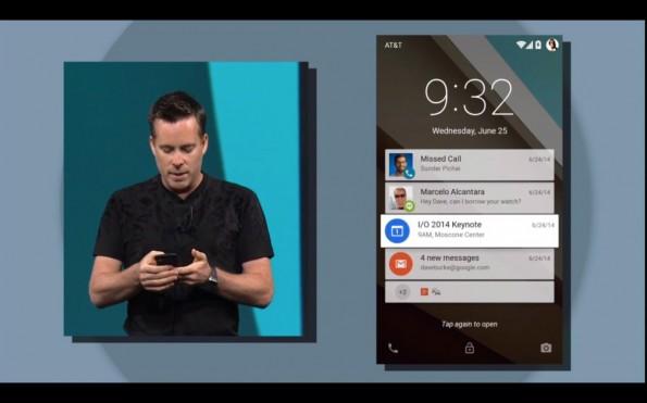Android L bekommt auch neue Benachrichtigungen auf dem Lockscreen. (Screenshot: youtube.com)