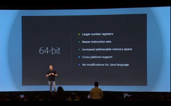 Android L ist dank der neuen Android Runtime vollkommen 64-bit-fähig – es fehlt die passende Hardware. (Screenshot: youtube.com)