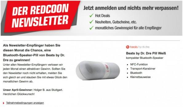Redcoon macht den eigenen Newsletter mit einem monatlichen Gewinnspiel schmackhaft. (Screenshot: Redcoon)