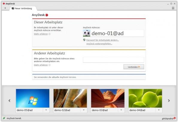 Die Oberfläche orientiert sich am Look eines Browsers. Zum Verbinden brauchen die Nutzer nur eine alphanumerische ID eingeben. (Quelle: AnyDesk)