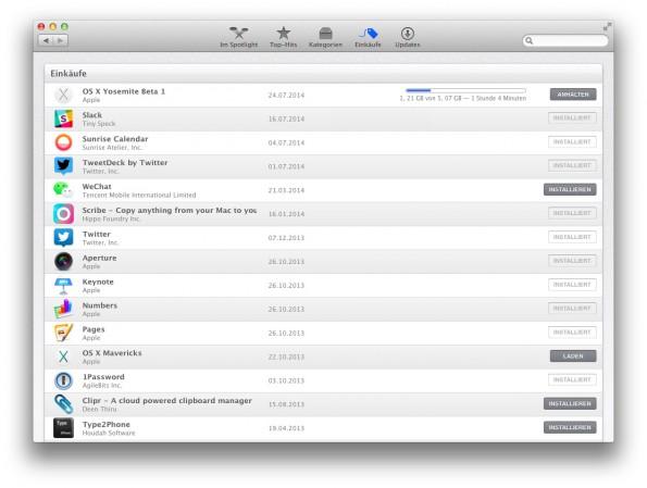 """Die öffentliche Beta-Version von OS X 10.10 """"Yosemite"""" steht ab sofort für eine Millionen Nutzer zum Download bereit. (Screenshot: Moritz Stückler)"""