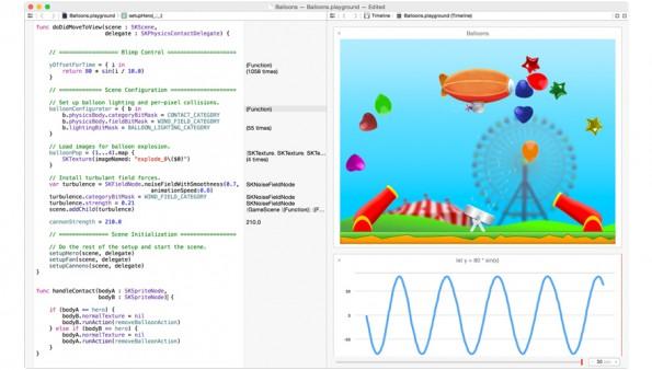 Der Code in Apples neuer Programmiersprache Swift kann live verändert werden, und das Ergebnis ist sofort sichtbar – ohne Kompilierung.