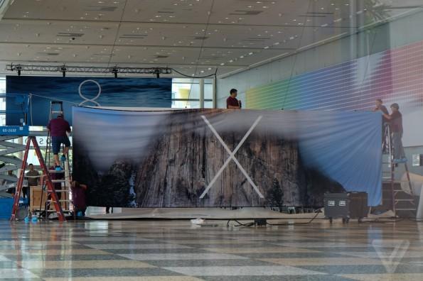 """Die ersten Banner im Konferenzzentrum sprechen dafür, dass Mac OS X 10.10 den Beinamen """" Yosemite"""" oder """"El Cap"""" tragen wird. (Quelle: theverge.com)"""