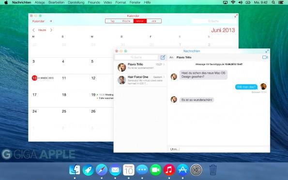 So könnte OS X 10.10 Yosemite aussehen. Jedenfalls soll es deutlich flacher und iOS-ähnlicher werden. (Quelle: giga.de)