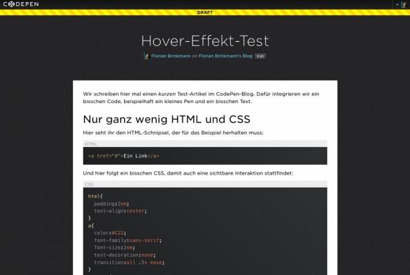 So sieht ein Blogpost im Standard-Design aus. (Screenshot: CodePen)