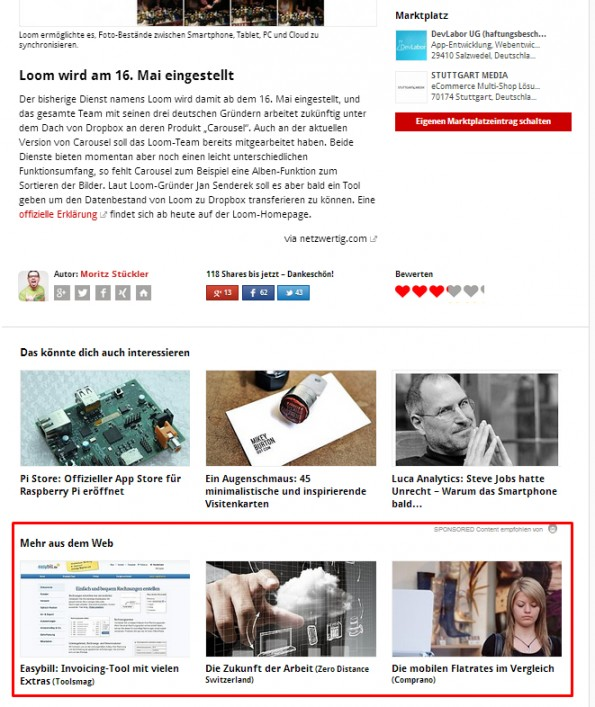 Outbrain-Anzeigen bei t3n.de. (Screenshot: t3n.de)