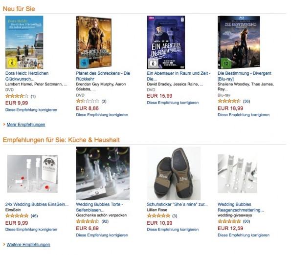 Klassisches Beispiel: Amazon ist ein Urgestein der Personalisierungsidee. (Screenshot: Amazon)