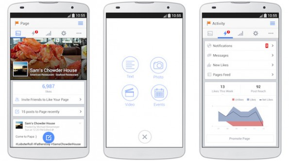 Facebook Pages Manager: Auch die Android-App wurde überarbeitet. (Grafik: Facebook)